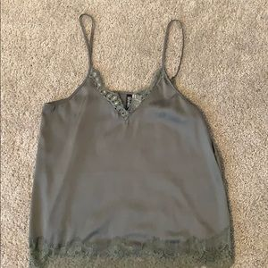 Olive green cami with lace trim.